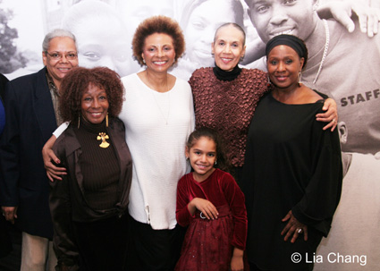 Venida Evans, Vinie Burrow, Leslie Uggams, Carmen Delavallade and Elain Graham celebrate at <strong>THE RIVER CROSSES RIVERS</strong> opening night party on October 8, 2009 in the lobby of the Castillo Theatre in New York. © Lia Chang