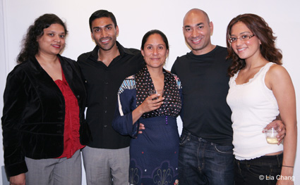 THE KITCHEN playwright Naveen Bahar Choudhury with her castmembers Seril James, Sakina Jaffrey, Andrew Guilarte and Yasmin Kazi at <strong>THE RIVER CROSSES RIVERS</strong> opening night party on October 8, 2009 in the lobby of the Castillo Theatre in New York. © Lia Chang