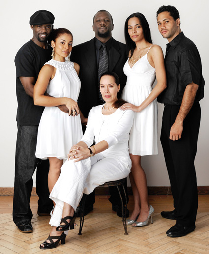 Cast of The Billie Holiday Theatre's production of The High Priestess of Dark Alley (L-R) Nicoye Banks, Aura Vence, Zeb Hollins III, Marcelle Gover, Mari White and Michael Chenevert. © Mark Blackshear/Courtesy of Billie Holiday Theatre