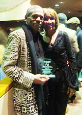 Six time Audelco award winner André De Shields (Outstanding Performance in Musical, Male) and Julia Breanetta Simpson at the 37th Annual Audelco Awards at Aaron Davis Hall in New York, on Monday, November 16.