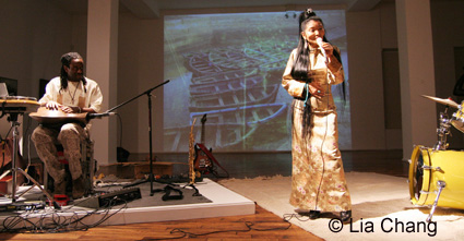 Will Calhoun and Tibetan vocalist Yung Chen Lhamo on October 28, 2009 at the Chelsea Art Museum in New York. © Lia Chang