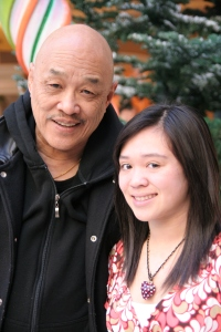 Asia Flores and her grandpa Russ. Photo by Lia Chang
