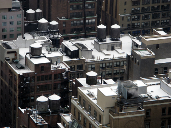 Snow capped water towers in New York. © Lia Chang