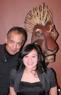 Thom Sesma and Asia Flores backstage at The Lion King Las Vegas at Mandalay Bay. © Lia Chang