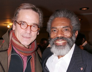 Jeremy Irons and André De Shields after the performance of Mine Eyes Have Seen The Glory:  From Douglass to Deliverance in New York on February 9, 2009. © Lia Chang