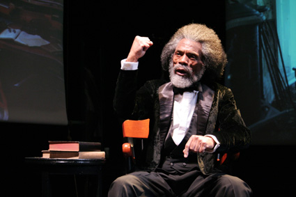 André De Shields as Frederick Douglass in The Working Theater's production of Mine Eyes Have Seen The Glory: From Douglass to Deliverance at the June Havoc Theatre, Abingdon Theatre Arts Complex in New York.  © Lia Chang