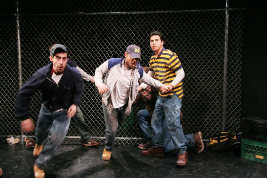 Josè Joaquin Perez, Gerardo Rodriguez and Andrés Munar in Working Theater's First Stage Production of Ed Cardona Jr's 'American Jornalero', directed by Victor Maog, March 4 - 14, 2010. Photo by Lia Chang