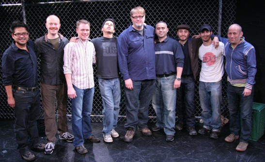 Director Victor Maog, Actors Jeff Biehl, Mat Hostetler, Andrés Munar and Neal Hemphill, Playwright Ed Cardona, Jr., Actors Gerardo Rodriguez and Josè Joaquin Perez and Working Theater Producing Director Mark Plesent. Working Theater's First Stage Production of Ed Cardona Jr's 'American Jornalero', directed by Victor Maog, March 4 - 14, 2010. Photo © Lia Chang