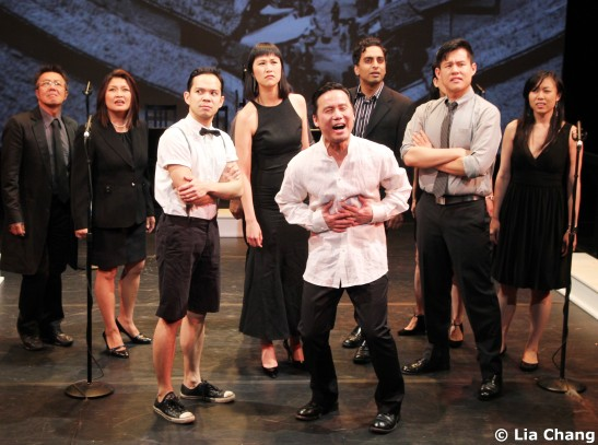 BD Wong (center) and the cast of Heading East, a musical by Robert Lee and Leon Ko, at the Lila Acheson Wallace Auditorium at Asia Society in New York, May 24-26, 2010. © Lia Chang