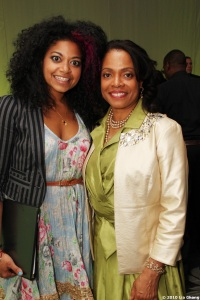 Rebecca Naomi Jones, who is currently starring in American Idiot on Broadway, with Denise Burse. Photo by Lia Chang