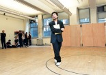 Playwright David Henry Hwang during a rehearsal of Flower Drum Song at 890 Broadway Studios in 2002. Photo by Lia Chang