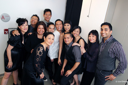 Backstage at the Asia Society in New York with the cast of the staged concert reading of Heading East starring BD Wong, on May 24, 2010. Photo by Lia Chang