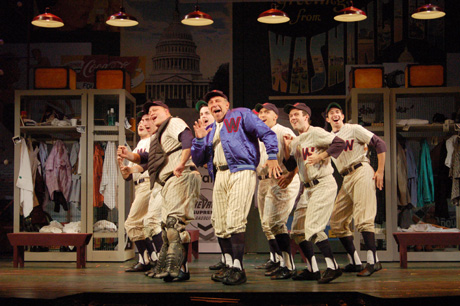 "L to R:   James Lee Glatz; Zander Meisner; Jason""SweetTooth"" Williams; Bronson N. Murphy; Stephen Berger; Freddie Kimmel; Jeremy Morse; Andrew Leggieri in Damn Yankees, currently playing at The John W. Engeman Theater in Northport through August 29, 2010. © Paul DeGrocco"