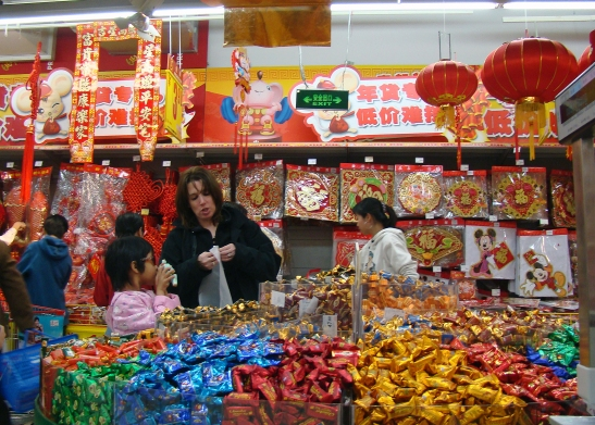 Faith and Donna in a Chinese store in Stephanie Wang-Breal's Wo Ai Ni Mommy