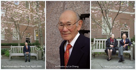 Kathryn and Fred Korematsu sit in a bench dedicated to JFK Jr. in a courtyard adjacent to the NYU Law School Auditorium in April, 2000. Photo by Lia Chang