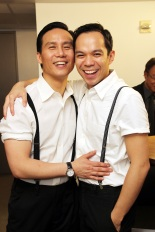 BD Wong and Jon Norman Schneider backstage at the Asia Society before the opening night performance of Robert Lee and Leon Ko's Heading East on May 24, 2010. In the musical they play father and son. Photo by Lia Chang