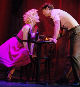 L to R: Felicia Finley and Austin Miller in Damn Yankees, currently playing at The John W. Engeman Theater in Northport through August 29, 2010. © Paul DeGrocco
