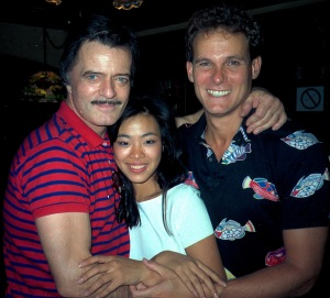 Robert Goulet, Lia Chang and David Carroll at the closing night party for South Pacific in San Antonio, TX in September 1986.