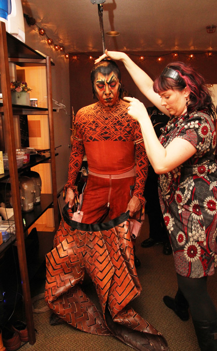 Thom Sesma with makeup artist Laura Sill in the dressing room on August 23, 2010, at the Mandalay Bay Theatre, where he is currently starring as Scar in Disney's The Lion King Las Vegas.  Photo by Lia Chang