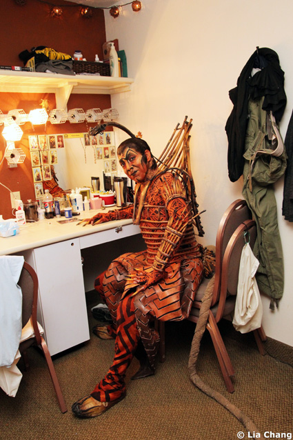 Thom Sesma, who plays Scar in The Lion King Las Vegas at the Mandalay Bay, in his dressing room on August 23, 2010. Photo by Lia Chang