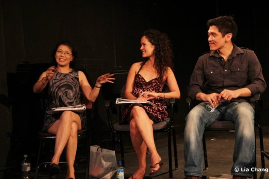 HANDBAG Talkback (from L to R): Nancy Eng, Ali Ewoldt, Moses Villarama.  Photo by Lia Chang, Copyright 2010.