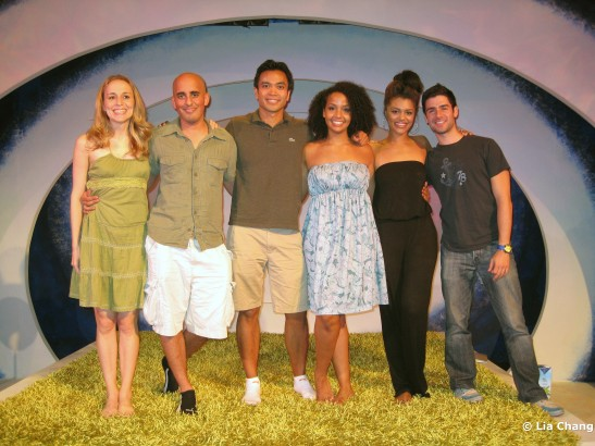 Jennifer Blood, Nehal Joshi, Jose Llana, Stephanie Umoh, Sasha Sloan and Adam Kantor on the set of Falling for Eve at The York Theatre at St Peter's Church on 8/3/10 Photo by Lia Chang