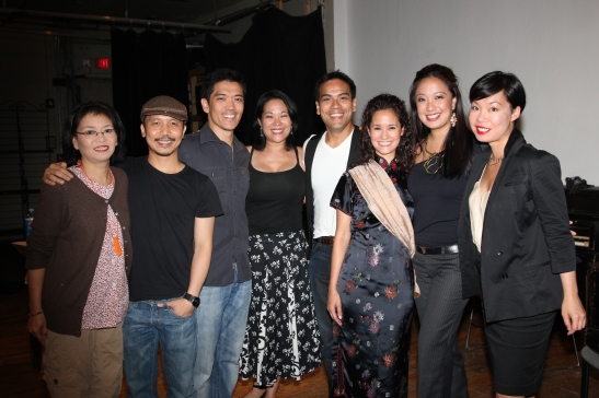 (L-R) Nancy Eng, Victor Lirio, Moses Villarama, Christine Toy Johnson, Kurt Uy, Ali Ewolt, Jaygee Macapugay and Judy W. Chen backstage at Center Stage NY for the workshop reading of Christine Toy Johnson's ADVENTURES OF A FAUX DESIGNER HANDBAG, presented by Leviathan Lab, and directed by Victor Lirio. Photo by Lia Chang
