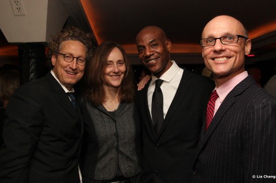 MCC Theater artistic director Bernie Telsey, The Break of Noon director Jo Bonney, castmember John Earl Jelks and MCC Theater associate artistic director William Cantler Photo by Lia Chang