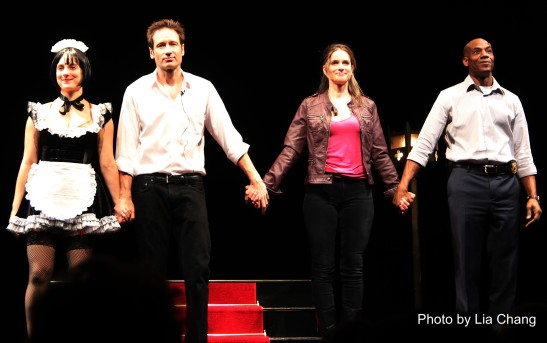 Tracee Chimo, David Duchovny, Amanda Peet and John Earl Jelks at the opening night curtain call of MCC Theater's world premiere of Neil LaBute's The Break of Noon at the Lucille Lortel in New York on November 22, 2010. Photo by Lia Chang