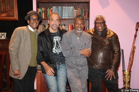 Knock Me A Kiss director Chuck Smith, playwright Charles Smith, André De Shields, and New Federal Theatre producer Woodie King on the set of Knock Me A Kiss at the Henry Street Settlement/Abrons Recital Hall in New York on November 11, 2010.  © Lia Chang