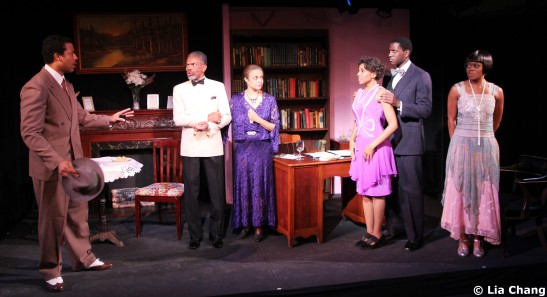 (L-R) Morocco Omari (Jimmy Lunceford), André De Shields (W.E.B. Du Bois), Marie Thomas (Nina Du Bois), Erin Cherry (Yolande Du Bois), Sean Phillips (Countee Cullen) and Gillian Glasco (Lenora) in Charles Smith's Knock Me a Kiss, directed by Chuck Smith, presented by Woodie King Jr's New Federal Theatre's season at Henry Street Settlement's Abrons Arts Center/Recital Hall, 466 Grand Street in New York, 11/11/-12/5. © Lia Chang