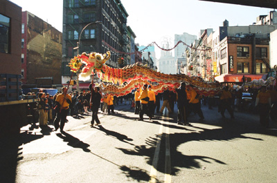 Dragon in Chinese New Year Parade in New York Chinatown Photo by Lia Chang