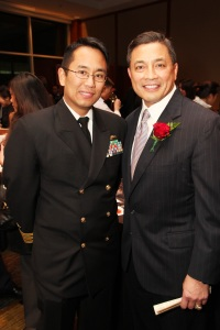 Dennis A. Espiritu, CDR, USN and 2011 AALDEF Justice in Action Awardee A.B. Cruz III.  Cruz is the first Filipino American to hold the distinction of attaining the rank of Rear Admiral in a non-medical field in the U.S. Navy. Photo by Lia Chang