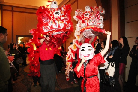 Lion dancers at the 2011 AALDEF Justice in Action Awards dinner.  Photo by Lia Chang