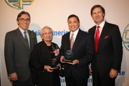 From L to R: AALDEF Board member, Philip Tajitsu Nash; 2011 Justice in Action Award recipients Lillian Kimura and A.B. Cruz III; Ken Lowe, CEO of Scripps Networks Interactive. Photo by Lia Chang.