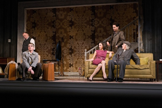 Laurence O'Dwyer, Steven Epp, Felicity Jones, Trent Dawson, and Jarlath Conroy in CENTERSTAGE's production of The Homecoming by Harold Pinter, Directed by Irene Lewis. Photo by Richard Anderson.