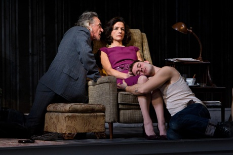 Jarlath Conroy, Felicity Jones, and Sebastian Naskaris in CENTERSTAGE's production of The Homecoming by Harold Pinter, Directed by Irene Lewis. Photo by Richard Anderson