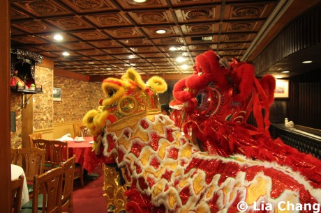 Wong Tai Sen Lion dance group inside the Golden Dragon Seafood Restaurant during Chinese New Year celebrations in Los Angeles on February 4, 2011.  Photo by Lia Chang