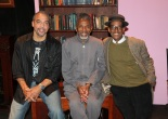 """Playwright Charles Smith, Andre De Shields and director Chuck Smith on the set of the New York production of """"Knock Me A Kiss"""" after the opening night performance at the Abrons Arts Center on November 11, 2011. Photo by Lia Chang"""