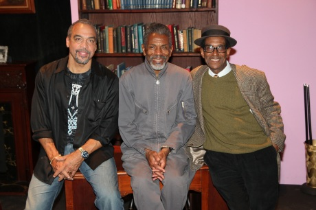 "Playwright Charles Smith, André De Shields and director Chuck Smith on the set of the New York production of ""Knock Me A Kiss"" after the opening night performance at the Abrons Arts Center on November 11, 2011.  Photo by Lia Chang"