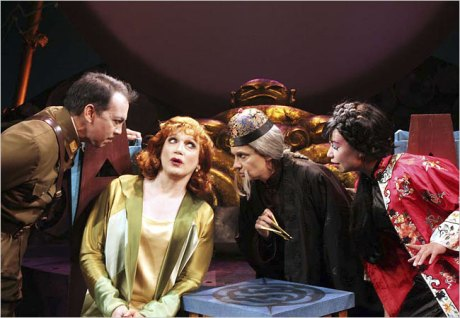"""Co-starring in """"Shanghai Moon"""" are, from left, Thom Sesma, the playwright Charles Busch, Gordana Rashovich and Jodi Lin. Photo by Lia Chang"""
