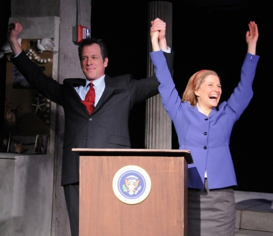 "Darren Pettie and Mia Barron as Bill and Hillary Clinton in New Georges' production of Wendy Weiner's ""Hillary: A Modern Greek Tragedy With a (Somewhat) Happy Ending,"" directed by Julie Kramer at The Living Theater in New York.  Photo credit: Jim Baldassare"