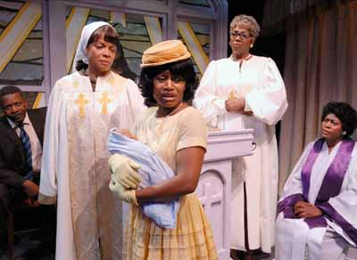 (l-r) Denise Burse, Navaina Rhodes, Margo Moorer and Chandra Currelley in True Colors Theatre's production of The Amen Corner by James Baldwin at The Alliance Theatre in Atlanta. Photo by Tom Meyer