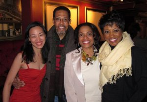 Lia Chang, Peter Jay Fernandez, Denise Burse and Marva Hicks after the concert presentation of Pat Holley's Me and Caesar Lee at The Triad Theatre in New York on April 3, 2011.