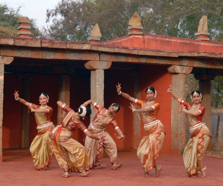 Nrityagram Dance Ensemble in their Amphitheatre in their village in India.  Photo by Nan Melville