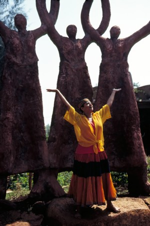 Protima Bedi at Nrityagram, February, 1998.  Photo by Nan Melville