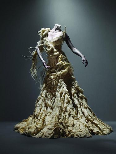 "Alexander McQueen (British, 1969–2010), ""Oyster"" Dress, Irere, spring/summer 2003, Ivory silk organza, georgette, and chiffon, Courtesy of The Metropolitan Museum of Art, Photograph © Sølve Sundsbø/Art + Commerce"