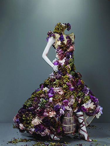 Alexander McQueen (British, 1969–2010), Dress, Sarabande, spring/summer 2007, Nude silk organza embroidered with silk flowers and fresh flowers, Courtesy of The Metropolitan Museum of Art, Photograph © Sølve Sundsbø/Art + Commerce