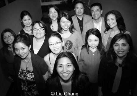 The playwrights and producing team of AEA's Asian Heritage Celebration, featuring the Leviathan Lab Asian American Women Writers Workshop (L to R) Kristine M. Reyes, May Nazareno, Leanne Cabrera, Dorim Lee, Christine Toy Johnson, Nancy Eng, Marisa Marquez, Siho Ellsmore, Nelson Eusebio, Ji Hyun Lee, Ariel Estrada, Elaina Erika Davis, Eileen Rivera. © Lia Chang