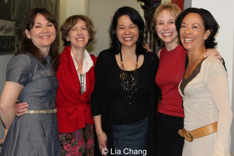 Tanforan playwright Christine Toy Johnson (center) is flanked by her cast (L-R) Jennifer Prescott, Valerie Wright, Charlotte D'Amboise, and director JoAnn Hunter. © Lia Chang